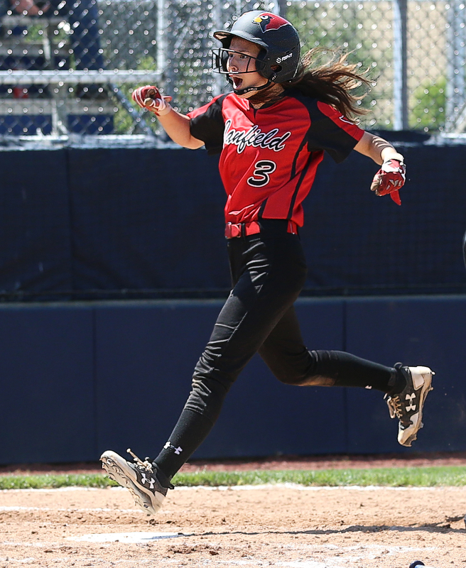 AKRON, OHIO- 05-23-18 SOFTBALL D1 Regional Semi- Canfield Cardinals vs Willoughby South Rebels: Canfield's Brooke Crissman (3) scores Canfield's 1st run during the 6th inning at University of Akron, Lee Jackson Softball Field.  MICHAEL G. TAYLOR | THE VINDICATOR