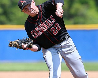 HUDSON, OHIO- 05-24-18 BASEBALL D2 Regional Semi- Chardon Hilltoppers vs Canfield Cardinals: Canfield's Ian McGraw (22) fires a pitch homeward during the 1st inning at The Ball Park at Hudson, Hudson High School.  MICHAEL G. TAYLOR | THE VINDICATOR