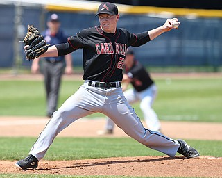 HUDSON, OHIO- 05-24-18 BASEBALL D2 Regional Semi- Chardon Hilltoppers vs Canfield Cardinals: Canfield's Ian McGraw (22) fires a pitch homeward during the 2nd inning at The Ball Park at Hudson, Hudson High School.  MICHAEL G. TAYLOR | THE VINDICATOR