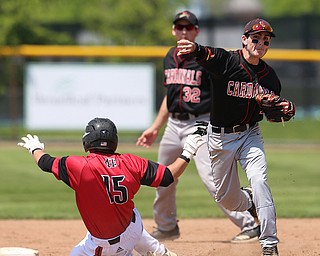 HUDSON, OHIO- 05-24-18 BASEBALL D2 Regional Semi- Chardon Hilltoppers vs Canfield Cardinals: Canfield's Nick Piersante (7) fires  to 1st to complete the double play during the 2nd inning at The Ball Park at Hudson, Hudson High School.  MICHAEL G. TAYLOR | THE VINDICATOR