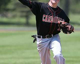 HUDSON, OHIO- 05-24-18 BASEBALL D2 Regional Semi- Chardon Hilltoppers vs Canfield Cardinals: Canfield's Nick Piersante (7) fires across to 1st for the out during the 3rd inning at The Ball Park at Hudson, Hudson High School.  MICHAEL G. TAYLOR | THE VINDICATOR