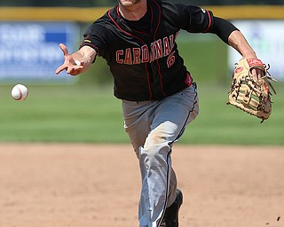 HUDSON, OHIO- 05-24-18 BASEBALL D2 Regional Semi- Chardon Hilltoppers vs Canfield Cardinals: Canfield's Spencer Wolleyi (6) toss to 1st base for the out during the 4th inning at The Ball Park at Hudson, Hudson High School.  MICHAEL G. TAYLOR | THE VINDICATOR