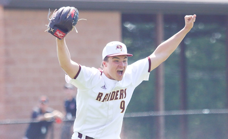 South Range pitcher Jake Gehring celebrates after the final out of the Raiders' 4-1 win over  Waynedale in a Division III regional semifinal Thursday at Massillon Washington High School.