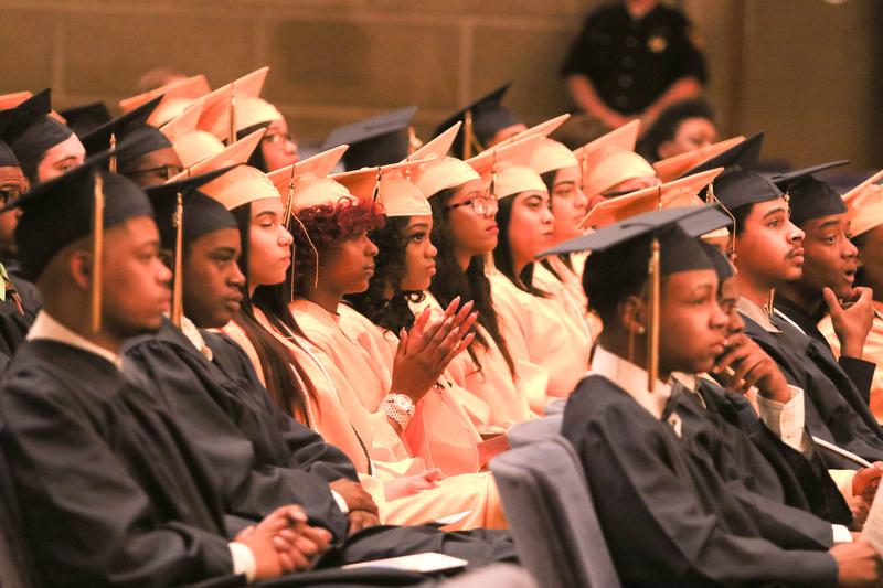 ROBERT K YOSAY  | THE VINDICATOR..Graduates listen to Krish Mohip ..East High School Graduation - class of 2018.. held at Stambaugh Auditorium.....-30-