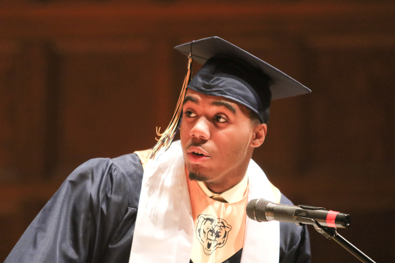 ROBERT K YOSAY  | THE VINDICATOR..Terrell Engles Class President and Valedictorian ..East High School Graduation - class of 2018.. held at Stambaugh Auditorium.....-30-