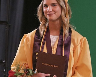ROBERT K YOSAY  | THE VINDICATOR..South Range Class of 2018Õs , High School Principal Stephen P. Rohan described its 120 graduates a Òone of a kind class.Ó..Angel Fickes.. poses with her diploma before the start of the ceremonies...-30-