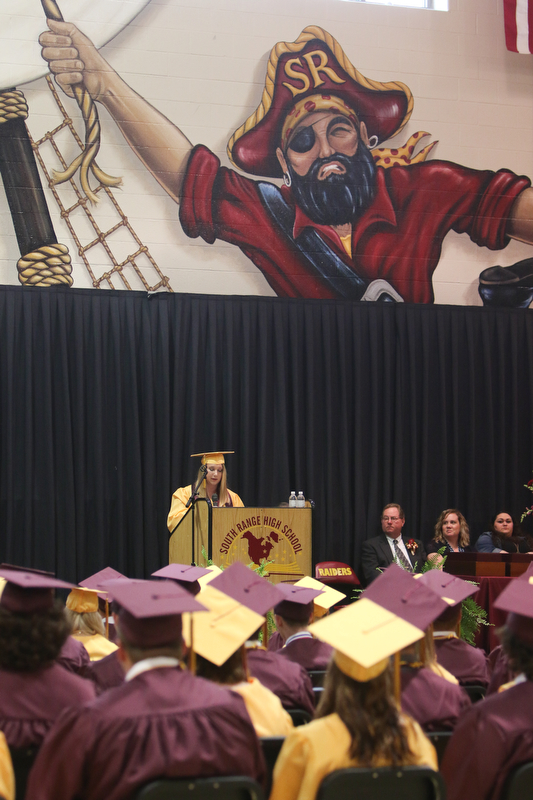 ROBERT K YOSAY  | THE VINDICATOR..South Range Class of 2018Õs , High School Principal Stephen P. Rohan described its 120 graduates a Òone of a kind class.Ó.Valedictorian Hannah Ferenchak gives her address...-30-