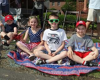 L-R) Finn Rousher (1), Madilynn Mikolich (7), Michael Mickley (6), and Galas Mikolich (6) all of Poland pose for a picture during the Memorial Day Parade in Poland on Monday morning. Dustin Livesay  |  The Vindicator  5/28/18 Poland