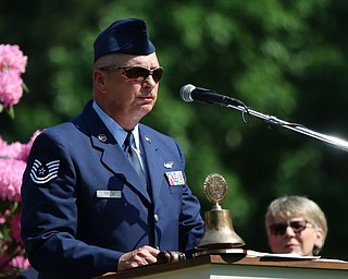 Joe Trolio was assigned as the Parade Grand Marshall and welcomed the crowd to the Memorial Day service at the Poland Riverside Cemetary in Poland on Monday morning. Dustin Livesay  |  The Vindicator  5/28/18 Poland