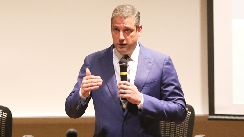 U.S. Rep. Tim Ryan answered a variety of questions from a largely friendly audience during his Tuesday night town hall meeting at Youngstown State University.  A lot of the focus of the event was on the growing problems the country is having with China and Russia.