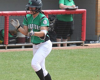 ROBERT K YOSAY  | THE VINDICATOR..West Branch Warriors - defeated Jonathan Alder Pioneers  - 5-4 where the lead changed hands several times ..#17  Kylie Coffelt  starts clapping as she heads for home after her home run that put WB  ahead ..-30-
