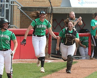 ROBERT K YOSAY  | THE VINDICATOR..West Branch Warriors - defeated Jonathan Alder Pioneers  - 5-4 where the lead changed hands several times ..#10 Kelsey Byers -#16 Jordan Anderson  Catcher Sam Morris-  #22 Delaney Rito run from the dugout to congratulate #17 Kylie Coffelt ..-30-
