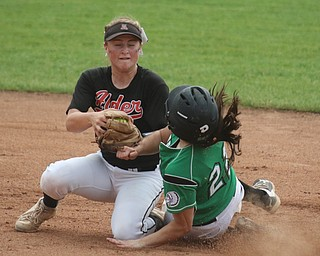 ROBERT K YOSAY  | THE VINDICATOR..West Branch Warriors - defeated Jonathan Alder Pioneers  - 5-4 where the lead changed hands several times ..ALders Emily Walker catches the ball - and puts the tag on WB  #22 Delaney Rio who was out at second\..-30-