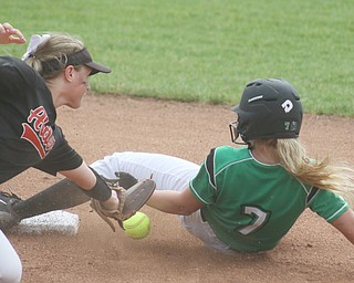 ROBERT K YOSAY  | THE VINDICATOR..West Branch Warriors - defeated Jonathan Alder Pioneers  - 5-4 where the lead changed hands several times ..WB  Grace Heath gets into second as  Emily Walker drops the tag.].-30-