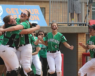 ROBERT K YOSAY  | THE VINDICATOR..AllSmiles - as catcher Sam Morris and Kelsey Byers hug as #6 Kenzie Erb and#22 Delaney Rito... head for celebration..West Branch Warriors - defeated Jonathan Alder Pioneers  - 5-4 where the lead changed hands several times .-30-