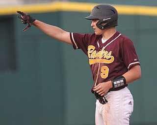 Jake Gehring (9) of South Range points to the dugout after hitting a 3-run double in the sixth inning during Thursday evenings State Semifinals matchup at Huntington Park in Columbus. Dustin Livesay  |  The Vindicator  5/31/18  Columbus