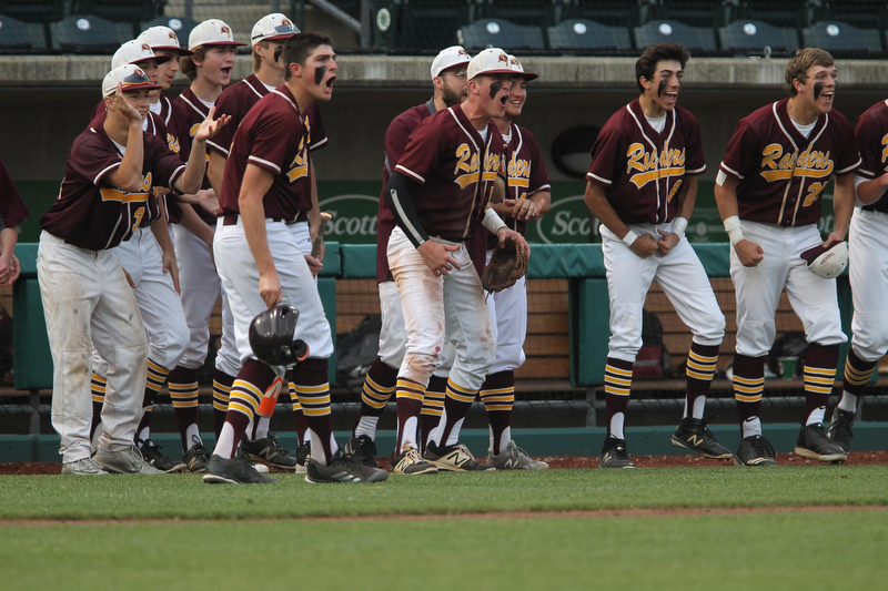 The South Range baseball team celebrates after they take a 3-0 lead in the sixth inning against MAdeira in the State semi finals matchup at Huntington Park in Columbus on Thursday evening. Dustin Livesay  |  The Vindicator  5/31/18  Columbus