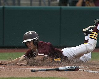 Dom Pasquale (21) of South Range slides safely into home plate during Thursday evenings State Semifinals matchup at Huntington Park in Columbus. Dustin Livesay  |  The Vindicator  5/31/18  Columbus
