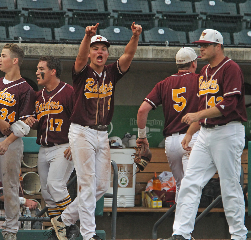 South Range freshman pitcher Jake Gehring (9) yells to his teammate in celebration during Thursday evenings State Semifinals matchup at Huntington Park in Columbus. Dustin Livesay  |  The Vindicator  5/31/18  Columbus