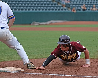 Brycen James (5) of South Range slides back to first beating the tag by Madeira's Jake Weiner (24) during Thursday evenings State Semifinals matchup at Huntington Park in Columbus. Dustin Livesay  |  The Vindicator  5/31/18  Columbus