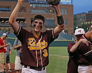 Mike Cunningham (3) of South Range thanks the student section after defeating Madeira in the State semi finals matchup at Huntington Park in Columbus on Thursday evening. Dustin Livesay  |  The Vindicator  5/31/18  Columbus