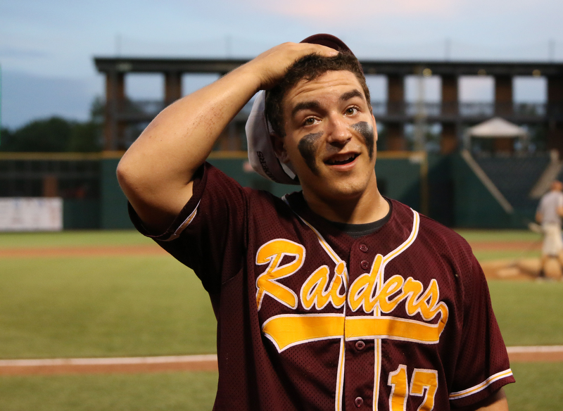 Ben Rivera (17) of South Range stands in awe after the Raiders defeated Madeira  in the State semi finals matchup at Huntington Park in Columbus on Thursday evening. Dustin Livesay  |  The Vindicator  5/31/18  Columbus
