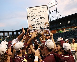 The South Range baseball team holds up a banner after defeating Madeira in the State semi finals matchup at Huntington Park in Columbus on Thursday evening. Dustin Livesay  |  The Vindicator  5/31/18  Columbus