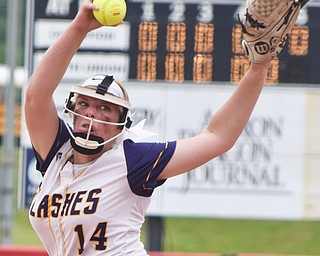 William D. Lewis Th Vindicator   Champion pitcher Spophie Howell(14) delivers during 6-1-18 win over North Union at Akron to advance to state championship game.