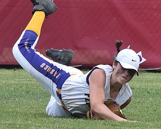 William D. Lewis Th Vindicator   Champion Emma Gumount(1) makes a diving catch in 7th inning  during 6-1-18 win over North Union at Akron to advance to state championship game.