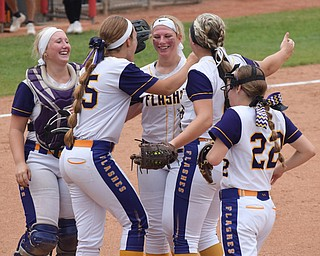 William D. Lewis Th Vindicator   Champion'pitcher Sophie Howell(14) center gets congrats from(lr) Gabby HollenbaughMegan TurnerAllisoin Smith and Carli Swipas after 6-1-18 win over North Union at Akron to advance to state championship game.