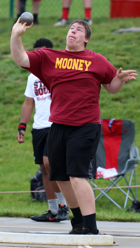 COLUMBUS, OHIO - June 1, 2018, OHSAA Track & Field Championships at Jesse Owens Stadium, Ohio State University-  D2 Mooney's Kyle Jornigan throws 53-01 to take 5th during D3 shotput.  SPECIAL TO | THE VINDICATOR