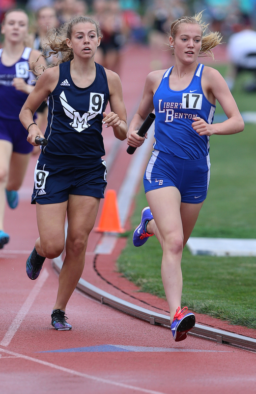 COLUMBUS, OHIO - June 1, 2018, OHSAA Track & Field Championships at Jesse Owens Stadium, Ohio State University-  D3 4x800 McDonald, Malina Mitchell runs the last leg.  McDonald finished in 4th place.  SPECIAL TO | THE VINDICATOR