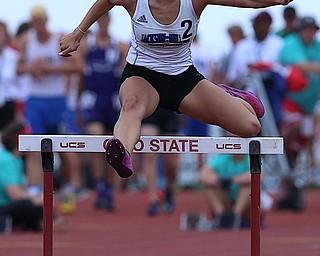 COLUMBUS, OHIO - June 1, 2018, OHSAA Track & Field Championships at Jesse Owens Stadium, Ohio State University-  D3 Jackson Milton's Michaelina Terranova qualifies for the 300m hurdles final.  SPECIAL TO | THE VIDICATOR