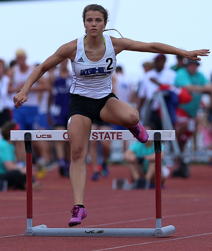 COLUMBUS, OHIO - June 1, 2018, OHSAA Track & Field Championships at Jesse Owens Stadium, Ohio State University-  D3 Jackson Milton's Michaelina Terranova qualifies for the 300m hurdles final.  SPECIAL TO | THE VIDICATOR