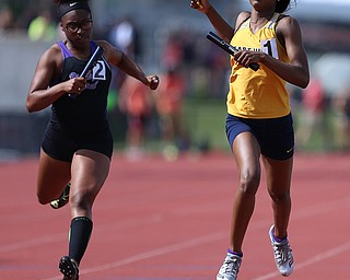 COLUMBUS, OHIO - June 2, 2018, OHSAA Track & Field Championships at Jesse Owens Stadium, Ohio State University-  D1 4x200m Youngstown East's Laniya Lewis finishes East 2nd place state run. SPECIAL TO | VINDICATOR