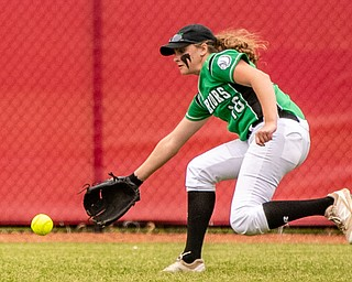 DIANNA OATRIDGE | THE VINDICATORÊ West Branch's Jordan Anderson fields a base hit by Keystone during their 3-2 loss in the Division II State Championship game in Akron on Saturday..