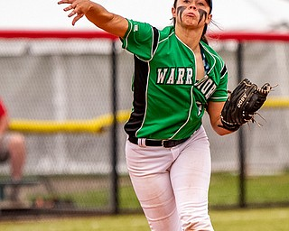 DIANNA OATRIDGE | THE VINDICATORÊ West Branch's Delaney Rito throws to first base for an out against Keystone in the Division II State Championship in Akron on Saturday. Keystone won 3-2 in 12 innings..