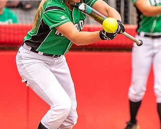 DIANNA OATRIDGE | THE VINDICATORÊ West Branch's Grace Heath makes contact for a sacrifice bunt during their 3-2 extra inning loss in the Division II State Championship in Akron on Saturday..