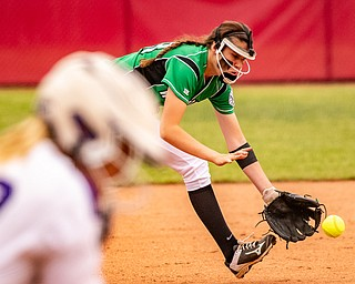 DIANNA OATRIDGE | THE VINDICATORÊ West Branch's Peyton Alazaus goes after a grounder during their 3-2 loss against Keystone in the Divsion II State Championship in Akron on Saturday..