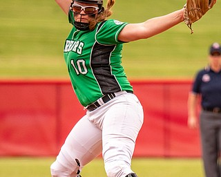 DIANNA OATRIDGE | THE VINDICATORÊ West Branch's Kelsey Byers delivers a pitch versus Keystone during the Division II State Championship in Akron on Saturday. Keystone won in 12 innings, 3-2..