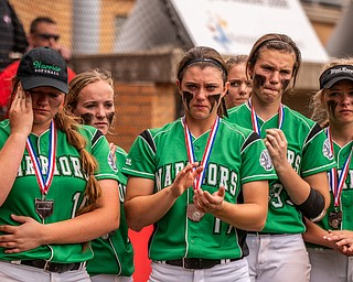 DIANNA OATRIDGE | THE VINDICATOR West Branch players, left to right, Kelsey Byers, Sidney Milliken, Kylie Coffelt, Peyton Alazaus, and Riley Mesley, react after their twelve inning 3-2 loss against Keystone in the Division State Championship in Akron on Saturday..
