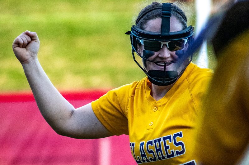 DIANNA OATRIDGE | THE VINDICATORÊ ÊChampion's Abby White celebrates after a double play during the Division III State Championship in Akron on Saturday..