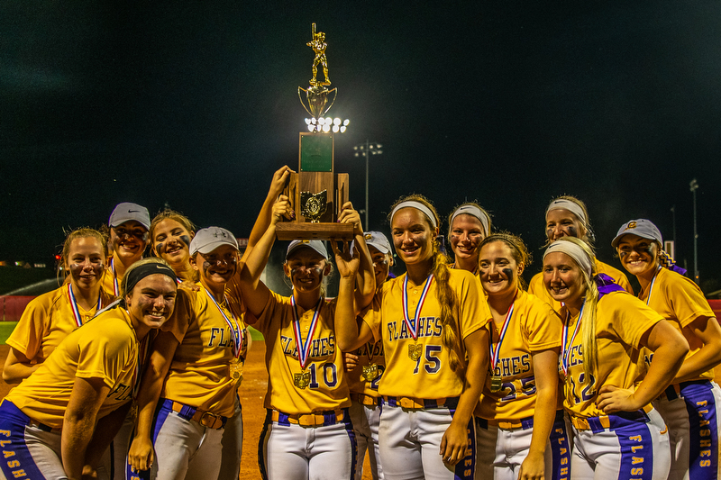 DIANNA OATRIDGE | THE VINDICATORÊ The Champion softball team celebrates after being awarded the Division III State Championship in Akron on Saturday. They defeated Cardington-Lincoln 9-4.