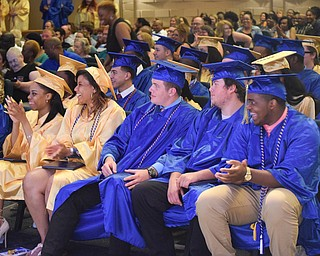 William D. Lewis The Vindicator Valley Christian grads react during 6-3-18 commencement at HighwayTabernacle.