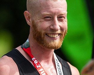 Scott R. Galvin | The Vindicator.Erik Reed of East Liverpool smiles after he wins the first inaugural Youngstown Marathon on Sunday, June 3, 2018.