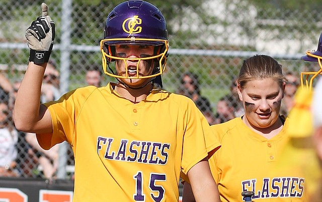 Champion's Megan Turner celebrates a home run against Akron Manchester during a May 23 regional semifinal game. Turner, who helped the Golden Flashes repeat as state champions, was named the Gatorade Ohio Softball Player of the Year on Monday.