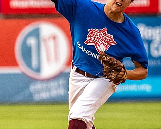 DIANNA OATRIDGE | THE VINDICATORÊ South Range's Brandon Youngs delivers a pitch for the Mahoning team during the All Star Classic at Eastwood Field in Niles on Friday.