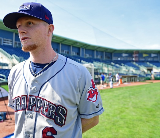 NILES, OHIO - JUNE 12, 2018: Mahoning Valley Scrappers' Mitch Reeves answers questions from the media during the teams media day, Tuesday morning at Eastwood Field. DAVID DERMER | THE VINDICATOR