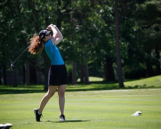 Eileen McHale drives the ball during the Greatest Golfer junior qualifier on Thursday at Trumbull Country Club in Warren.