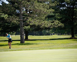 Eileen McHale hits the ball during the Greatest Golfer junior qualifier on Thursday at Trumbull Country Club in Warren.